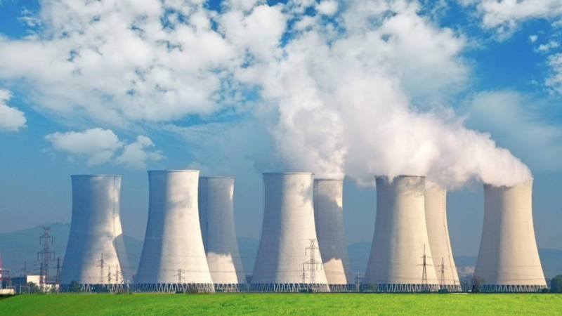 A nuclear power station producing electricity