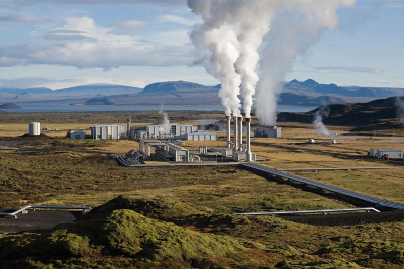 A Geothermal power plant producing renewable energy source in NZ