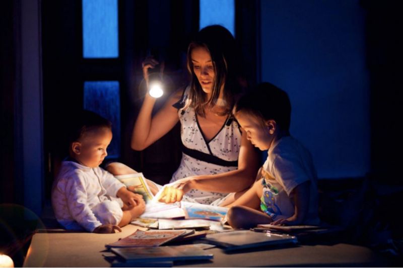 Kiwi family dealing with a power outage