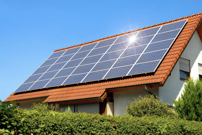 Family home with solar power panels installed