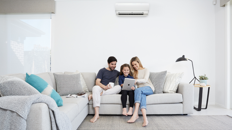 Family enjoying their heat pump together.