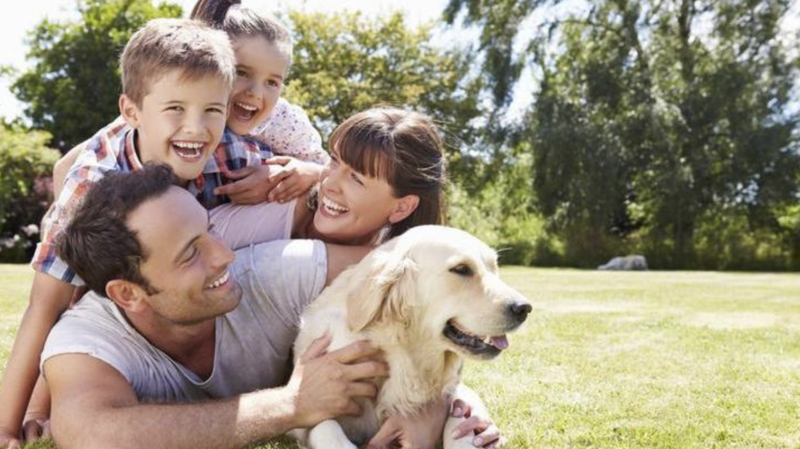Family with their dog